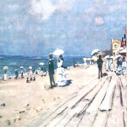 Monet Beach at Trouville Street Banner Wall Art - From the Legion of Honor Museum, an authentic, limited edition street banner to display in your home as spectacular wall art. The English Channel on France's northwest coast is dotted with charming beaches and towns. Claude Monet painted these beaches in the late 1800's, capturing their people, landmarks, rocky cliffs, and distinctive light. These banners feature Monet's The Beach at Trouville from the San Francisco showing of Monet in Normandy.