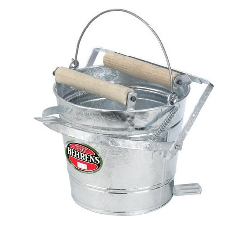 "BEHRENS MFG LLC - 412W 12 QT MOP PAIL - 12 QT. MOP PAIL W/ROLLER  Galvanized steel mop pail includes -  wooden rollers for wringing wet mops  Offset bottom keeps pail off ground  Wire reinforced rim  Durable galvanized steel construction  Dimensions: 17-1/2""D x 13-1/2""W x 11""H        412W 12 QT MOP PAIL  SIZE:12 Quart  FINISH:Galvanized"