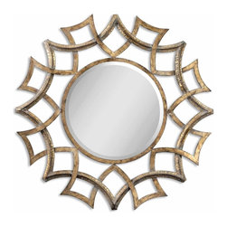 "Uttermost - Demarco Round Antique Gold Mirror - This ornate mirror features an antiqued gold finish with a light gray glaze and burnished edges. Mirror has a generous 1 1/4"" bevel."
