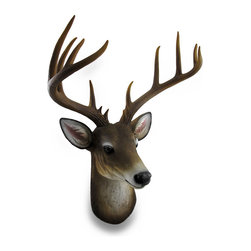 Zeckos - 12 Point Buck Deer Head Bust Wall Hanging - This awesome, cast resin 12 point buck wall mounted sculpture is a perfect addition to rooms with a masculine or nature theme measuring 23.5 inches high, 18 inches wide (60 X 46 cm) and it extends from the wall 15.5 inches (39 cm). The detail is incredible, down to the hand painted eyes and individual hairs of the fur. This cruelty free and animal friendly deer head wall hanging makes a great gift any hunting fan or nature lover is sure to admire NOTE: The antlers are packaged separately inside foam packaging.
