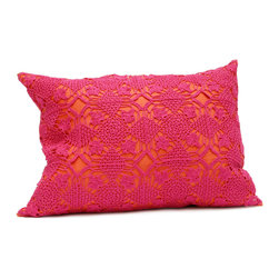 "Area - Violet Pillow in Berry - Area - Pure linen decorative pillows with beautiful hand-crochet detail. 16"" x 21"" with feather-down insert."