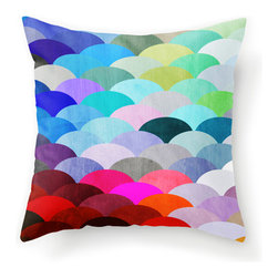 Spectrum Scales Throw Cover - If you love color and playful designs, you will love this cushion too. The vibrant spectrum and cute shapes will catch any eye.