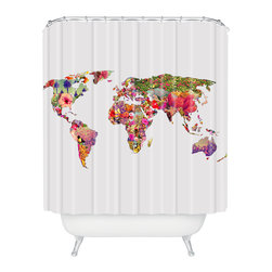 DENY Designs - Bianca Green Its Your World Shower Curtain - Think globally, shower florally. A vibrant mosaic of blooms covers every continent in this shower curtain custom printed on woven polyester, and it's sure to give your bath time a new world view.