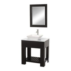 Wyndham Collection - Wyndham Collection Zen II Espresso 30-inch  Single Bathroom Vanity Set - The Zen II Modern Bathroom vanity is as solid as it is stylish. Sturdy high-quality construction,multiple sink options,single-hole faucet choices,and a stunning white glass counter allow you to customize the Zen II to your taste and decor.