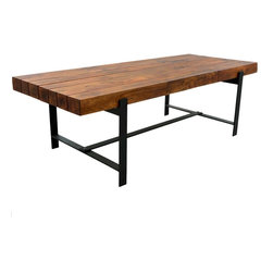 """Sierra Living Concepts - Industrial & Wood Modern Rustic Iron Base Factory Dining Table - """"Premium Quality, Heavy Weight 1032 Pounds Furniture"""""""