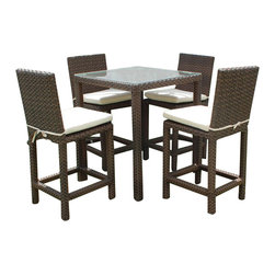 International Home Miami - Atlantic Monza Patio Bar Set - Great quality, stylish design patio sets, made entirely of high quality resin. No metal parts. I won't rust. Polyester cushion with water repellant treatment. Enjoy your patio with elegance all year round with the wonderful Atlantic outdoor collection.