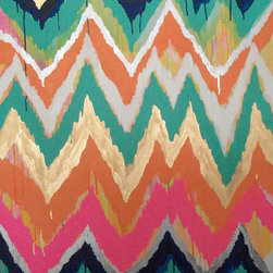 Original Ikat Chevron Painting by by Jennifer Moreman - Whether you love bold or crave neutrals, this original ikat chevron painting by Jennifer Moreman is a piece that will catch anyone's eye.