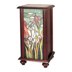 Dale Tiffany - Dale Tiffany Iris Tiffany Pedestal - TA101346 - Shade Material: Hand Rolled Art Glass, Wood