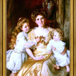 """Thomas Benjamin Kennington-18""""x24"""" Framed Canvas - 18"""" x 24"""" Thomas Benjamin Kennington A Mother's Love framed premium canvas print reproduced to meet museum quality standards. Our museum quality canvas prints are produced using high-precision print technology for a more accurate reproduction printed on high quality canvas with fade-resistant, archival inks. Our progressive business model allows us to offer works of art to you at the best wholesale pricing, significantly less than art gallery prices, affordable to all. This artwork is hand stretched onto wooden stretcher bars, then mounted into our 3"""" wide gold finish frame with black panel by one of our expert framers. Our framed canvas print comes with hardware, ready to hang on your wall.  We present a comprehensive collection of exceptional canvas art reproductions by Thomas Benjamin Kennington."""