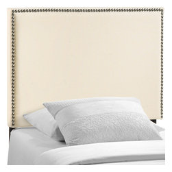 Modway - Region Tw, Nailhead Upholstered Headboard MOD-5218, Ivory - Enhance your bed of choice with a spaciously designed modern headboard. Region captures the expansive moments of restful nights with an elegance that doesn't detract from the simplicity of the design. Made of particleboard with solid wood poles, fine linen upholstery, and a fashionable nail button trim, rejoice with a contemporary design that admirably compliments your contemporary decor.