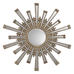 Paragon Decor - Retro Starburst - Antique gold mirror features a round beveled mirror (12h x 12w) surrounded by additional plain mirrors.