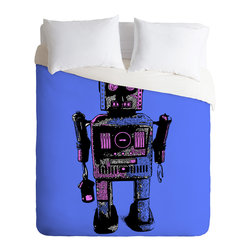 DENY Designs - Romi Vega Lantern Robot Duvet Cover - Turn your basic, boring down comforter into the super stylish focal point of your bedroom. Our Luxe Duvet is made from a heavy-weight luxurious woven polyester with a 50% cotton/50% polyester cream bottom. It also includes a hidden zipper with interior corner ties to secure your comforter. it's comfy, fade-resistant, and custom printed for each and every customer.
