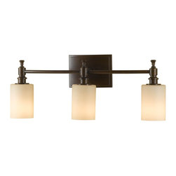 Murray Feiss - Murray Feiss Sullivan Transitional Bathroom / Vanity Light X-ZBTH-30161SV - Clean lines and modern influences have been blended with subtle traditional elements for added interest and flair to this Murray Feiss bathroom vanity light. From the Sullivan Collection, it features three creme etched glass shades that are highlighted by a rich Heritage Bronze finish.