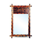 Wayborn - Hand Painted Bamboo Mirror - Decorative mirror. Made from bamboo frame. Cedar plywood. Smooth finish. 28 in. W x 43 in. H (23 lbs.)
