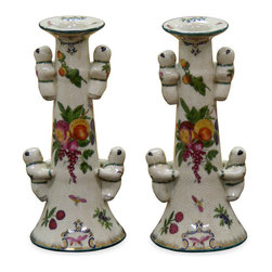 China Furniture and Arts - Hand Painted Porcelain Five Boy Candle Holders - These delicately hand painted porcelain candle holders contain in a vessel of extraordinary beauty with pleasant little boys curling around. Thus, they provide dramatic lighting and extend the beauty of theirs contents while serving as art mediums unto themselves in any room. Sold as a pair.