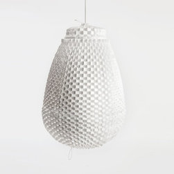 """Artecnica Grand Trianon Pendant Light - Artecnica Grand Trianon Pendant LightNamed after the palace of King Louis XIV, Grand Trianon is a large, lightweight chandelier made of post-consumer coated Tyvek. When lit up, the Grand Trianon emits a soft checkerboard glow from behind its surface of folded slits. The impressive size and surface texture are a modern reference to the opulent decor found in France's Palace of Versailles. """"Everything about the art and architecture of the Versailles is made with the greatest intensity. That inspired me to start this collection of lamps.""""Material: Tyvek®, Steel Frame"""