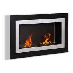 Moda Flame - Ronda Wall Mounted Ethanol Fireplace - The Ronda contemporary fireplace has a decorative glass on a steel inner frame to create the effect of a lively piece of art. Its elegant look is sure to complement its surrounding. The Ronda is equipped with two separate burners.