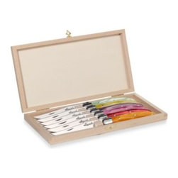 Laguiole - Laguiole 6-Piece Steak Knife Set with Colored Handles and Wood Claps Storage Box - Boasting traditional European craftsmanship and made of premium stainless steel, blades are stamped, ground and then polished with over 25 different manual production stages.