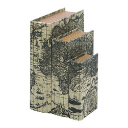 Benzara - Faux Book Boxes With Ancient World Map - For anyone who loves to travel the world, these book boxes are perfectly suited hold all your secret items. Made with aged leather with faux pages in the middle of the box, these are rugged enough to last years. Printed an ancient world map from 17th century Europe. Use them as secret storage on the end table.
