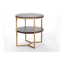 The Gilbert Side Table - Shown in rough sawn heart pine with a clear lacquer finish, the Gilbert Side Table, made of reclaimed wood, is a gorgeous addition to your living room, dining room, or family room. It features a modern aesthetic, two round shelves, a uniquely styled metal base, and the handcrafted quality you've come to expect from Reclamation Company. The wood was reclaimed from barns across the Southeastern United States, mostly built around the turn of the 20th century and prior, and features nail holes and details from the previous barn wood construction.