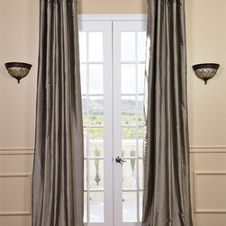 Silver Grey Thai Silk Curtains - Thai Silk is weaved using 2 different yarns of dupioni silk & thai silk. This blend makes for a richer & far superior fabric creating a distinctive texture that's smoother than our Textured Dupioni Silk curtains and of the highest in quality.
