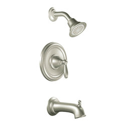"Moen - Moen T2153BN Brushed Nickel Posi-Temp Tub/Shower Valve Trim 1-Function Cartridge - Moen T2153BN is part of the Brantford bath collection. Moen T2153BN is a new bathroom decor style by Moen. Moen T2153BN has a Brushed Nickel finish. Moen T2153BN Posi-Temp Tub and Shower valve only trim fits any MPact common valve system or MPact Posi-Temp 1/2"" valve available separately. Moen T2153BN is part of the Brantford bath collection, featuring its beautiful look and timeless appeal. This collections traditional style complements any homes decor. Moen T2153BN Tub and Shower valve trim includes single-function pressure balancing Cartridge. Back to back capability. Moen T2153BN is a single handle Tub and Shower valve trim only, the handle adjusts temperature. Moen T2153BN valve only single handle trim provides for ease of operation. Moen T2153BN Posi-Temp pressure balancing valve maintains water pressure and controls temperature. Moen T2153BN includes Easy Clea"" xLT single function showerhead 2.5 GPM max., and a 6? diverter tub spout. Moen T2153BN is ADA approved. Brushed Nickel has a Lifeshine finish guarantee from Moen and provides style and durability. Moen T2153BN metal lever handle meets all requirements ofADA ICC/ANSI A117.1 and CSA to meet CSA B-125, ASME A112.18.1 M. Lifetime Limited Warranty."