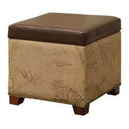 Armen Living - Antique Vintage Brown Storage Ottoman With Natural Jute  And Accent Nails - Rest a tray of  cocktails or stow blankets and throws inside this stylish  storage ottoman.  Accented with antique nails and wrapped in a harmony of plush antique bonded leather and jute fabric for lasting appeal.