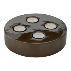 Kouboo - Tea Light Holder in Lacquerware, Bronze Color - This tealight holder is carefully hand crafted of lacquerware and embellished with a bronze metallic finish. Constructed of sturdy wood, this lacquerware tealight's deep, rich finish make it a beautiful coordinating piece to complement any home decor style. Show off up to four tealights and add a romantic feel to a table, mantle or use as the perfect addition to a dinner party tablescape.1 year limited warrantyHand-painted lacquer applied on woodHolds four tealightsWipes clean with dry, soft cloth Weighs 0.8 lb
