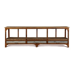 Kathy Kuo Home - Norden Industrial Loft Iron 3 Drawer Console Table - A unique take on a console table, this rusted iron base holds three slim drawers for your documents, drawings and plans. Generously proportioned shelves are ideal for display and storage. Each piece has subtle differences finished in waxed rust for a beautifully polished patina.