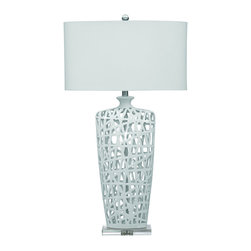 Bassett Mirror Company - Bassett Mirror L2528T Erowin Table Lamp in Gloss White Ceramic - Erowin Table Lamp in Gloss White Ceramic belongs to Contempo Collection by Bassett Mirror Company Bassett Mirror is fluent in this art, showing a terrific contemporary furniture that will satisfy on the one hand fans of home coziness, and on the other hand - seekers of non-standard design solutions also. One of the many strengths of the Bassett Mirror is using high quality materials for perfect embodiment of brilliant design ideas. Lamp (1)