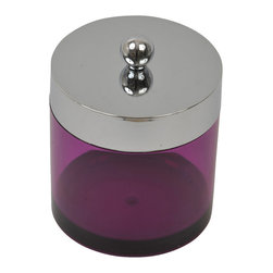Cotton Box Acrylic with Chrome Cover Clear Purple - This cotton box for bathrooms is in clear purple acrylic with a chrome cover and will add a modern look and feel to your decor. This circular shaped cotton box is an ideal organizer that looks attractive in any bathroom. Diameter of 3.93-Inch and a height of 5-Inch. Wipe clean with soapy water. Color clear purple. Accessorize your bathroom countertop in a trendy style with this charming cotton box! Complete your decoration with other products of the same collection. Imported.