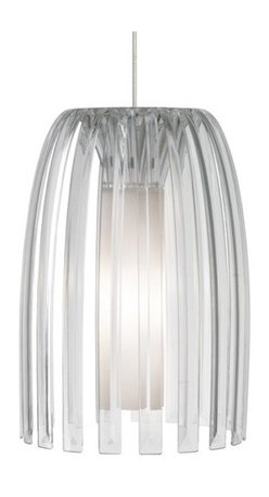 """LBL Lighting - LBL Lighting Mini Olivia Clear 50W Monopoint 1 Light Pendant - LBL Lighting Mini Olivia Clear 50W Monopoint 1 Light PendantDesigned by the trendy Koziol Company of Germany and containing all the elements of cutting edge modern design, this uniquely stylish Monopoint pendant features a Clear 100% recyclable plastic outer shade and hand-blown inner opal glass diffuser. Enclosing a 50 watt xenon lamp, this eco-conscious design will complement the decor of any home seeking a modern look.Each Monopoint System lighting fixture includes a 4"""" diameter single-point canopy with built-in transformer for a quick and easy installation.LBL Lighting Mini Olivia Clear 50W Monopoint Features:"""