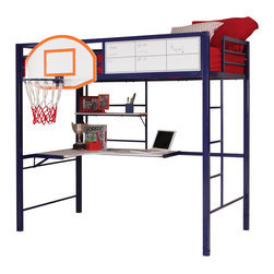Powell - Powell Hoops Basketball Bed  Bunk Bed X-BB2002Y41 - For the athlete or sports lover in your home, the Hoops Metal Basketball Bed combines fun and function. It includes a full, NBA sized, basketball hoop and comes with (includes the net)  a whiteboard to keep score. The loft bunk features space for a twin size mattress and includes a shelf and study desk unit underneath. Made of heavy gauge powder coated tubular steel end frames in a bright blue finish, and white hi-pressure laminated work surface give this study loft the rugged construction to survive in any youth environment. Some assembly required.