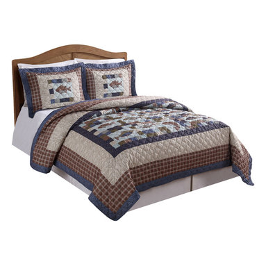 Pem America - Swimming Up Stream King Quilt with 2 Shams - Perfect for that cabin or lake house get away, Swimming Up Stream is a lodge inspired quilt with embroidered highlights on a machine stitched printed quilt.  Made of easy care materials this quilt is sure to last and provide many night of comfort as you sleep under printed patchwork and fish designs. Includes 1 king size quilt 108x96 inches and two standard shams 21x37 inches. 100% microfiber printed face and 100% polyester fill. Machine washable.