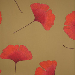 Biloba Orange Wallpaper by Marimekko - While I can't guarantee it will improve your memory, I think this ginkgo wallpaper will improve your chi.
