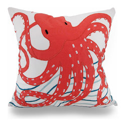 Zeckos - Embroidered Coral Octopus White and Blue Aquatic Throw Pillow 18 in. - Add a beautiful pop of aquatic charm that's brimming with decorative flair to your living room sofa, the chaise lounge on your enclosed patio, or the Adirondack chair in your garden room with this beautifully embroidered coral colored octopus pillow. It features a crisp white 100% cotton cover with a hidden zipper on the back so you can easily remove the polyester insert to spot clean the cover as needed, and measuring 18 inches high by 18 inches long (46 cm by 46 cm), it'll easily blend in with your existing nautical decor, and it's perfect to toss on the bed, to highlight a formal dining room or tuck under your arm while reading the daily paper. The fun accents on the octopus and the embroidered blue lines that symbolize water adds an artistic touch that's sure to be admired by all!