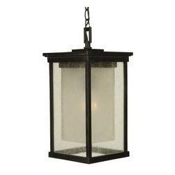 Craftmade Lighting - Outdoor Hanging Lantern - Z3721-92-NRG - Evoking the charm and beauty of European coach lanterns, this outdoor hanging lantern will captivate your guests while providing an energy efficient light source. The two-layer glass features outer panels of seeded glass with an amber frosted inner cylinder that helps diffuse the light source. Takes (1) 26-watt compact fluorescent spiral bulb(s). Bulb(s) sold separately. Dry location rated.