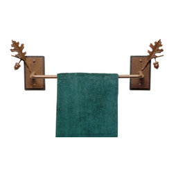 3-D Oak Leaf and Acorn Towel Bar - 24 Inch - A stunning and elegant 3-dimensional rendering of natural elements brings a rustic sophistication to the 3-D Oak Leaf & Acorn Towel Bar. Constructed of 1/2 diameter steel  this 24W fixture comes with a black layered back plate. The mounting hardware is included. ~Allow 3-4 weeks for delivery.