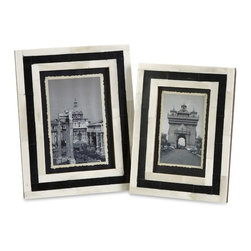 "IMAX - Bella Bone Inlay Frames - Set of 2 - A set ofeetwo photo frames made with bone inlay make the perfect desk, shelf or vanity accessory. White bone inlay with black geometric pattern gives these frames a simple modern appeal. For a coordinated look, display with the Bella bone inlay boxes.  Item Dimensions: (8.5-9.5""h x 6.5-7.5""w x 6.5-7.5"")"