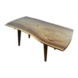 Architect English Elm Coffee table - Sleek and Modern, natural. Live edge Slab English Elm coffee/cocktail table. Finished with pure linseed varnish over Tung oil.