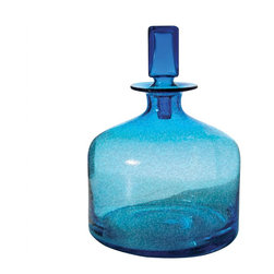 Lazy Susan - Lazy Susan 824015 Pool Blue Decanter - Small - Better than sapphire, turquoise or aquamarine, this shimmering blue glass decanter transforms natural light into pure bliss. Place it where it will capture the most light — windowsills are particularly charming — and see it sparkle all day long. Its modern lines and square stopper make it beautiful in shade as well as sun.