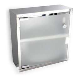 """Palmer Fixture - Stainless Steel Cabinet - Stainless Steel Cabinet features a frosted glass door that inhibits viewing contents inside . The door is constructed of shatter resistant glass! Cabinet has two shelves and an easy, push open door with a heavy duty lock. Unit can be recessed mounted.; Dimensions: 12"""" L x 4 3/4"""" W x 12"""" H; Includes one key, Type 8"""