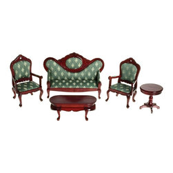 Town Square Miniatures - Mahogany & Green Victorian Living Room Dollhouse Miniature Set Brown - T0101 - Shop for Dollhouses and Dollhouse Furnishings from Hayneedle.com! The five-piece Mahogany & Green Victorian Living Room Dollhouse Miniature Set is made from real wood and features rich green printed patterns on dark mahogany furniture. This 1-inch scale set is for use in collector dollhouses only and is not recommended for children under the age of 13. The coffee table and side table feature unique curved legs and the sofa and two chairs make this set everything you need to furnish a dollhouse living room with a vintage look. This set is for use in collector dollhouses and is not recommended for children under the age of 13.