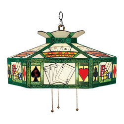 """Elk Lighting - Elk Lighting Tiffany Gameroom Pendant Light X-XT-612 - Texas Hold'Em pendant! Spruce up your billiard tables, dining areas and even your favorite poker tables with the Landmark Lighting stained glass Billiard Collection. Sporting colorful art glass and playful themes this Tiffany Pendant Light has an antique brass finish and a 20""""wide Tiffany shade! Install this pendant light in your game room and let the fun begin!"""