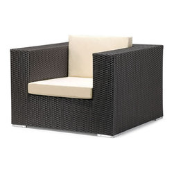 ZUO - Cartagena Arm Chair - Boxy lines offset by light cushions lend a chic ambiance to an outdoor party or a solitary sunset. The weather-resistant Cartagena series features a sectional, loveseat, armchair and coffee table. Sold separately.
