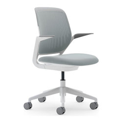 Steelcase - Steelcase Cobi Chair, White Frame w/Arms & Standard Casters, Nickel - No working stiff here, this chair has all the ergonomic amenities of the classic chair with the addition of arms, so you can move easily and lean comfortably into whatever task is coming down the pike.