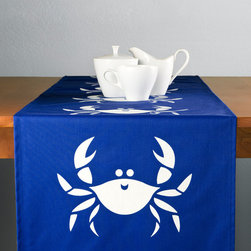 Happy Crab Modern Eco Blue Table Runner - Our fun Happy Crab table runner in shell white on blue adds coastal flair to any tabletop. Perfect for entertaining or just everyday use! This coastal design table runner also makes a unique seaside inspired gift for beach lovers. Designed, hand printed, and fabricated in America.