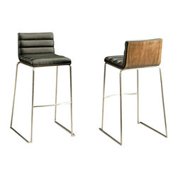 """Pastel Furniture - Pastel Dominica Barstool - Stainless Steel with Walnut Back - PU Black - 30 Inch - This beautifully made contemporary Stainless steel barstool with wood back has a simple yet elegant design that is perfect for any decor. An ideal way to add a touch of modern flair to any dining or entertaining area in your home. This barstool features a veneer wood back that comes in either white, black or walnut. It also has a quality Stainless steel frame with sturdy legs and foot rest finished. The padded seat is upholstered in either PU ivory or PU black offering comfort and style. Available in 26"""" counter height or 30"""" bar height."""