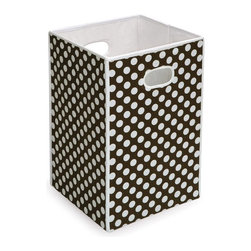 Badger Basket - Badger Basket Folding Hamper/Storage Bin - Brown with White Polka Dots - 21300 - Shop for Hampers from Hayneedle.com! Additional FeaturesDurable fabric with reinforced binding on all edgesFabric is 65% polyester and 35% cotton blendEasy to spot clean with a damp clothInternal panels crafted from heavy duty chipboardBadger Basket CompanyFor over 65 years Badger Basket Company has been a premier manufacturer of baskets bassinets bassinet bedding changing tables doll furniture hampers toy boxes and more for infants babies and children. Badger Basket Company creates beautiful and comfortable products that are continually updated and refreshed bringing you exciting new styles and fashions that complement the nostalgic and traditional products in the Badger Basket line.
