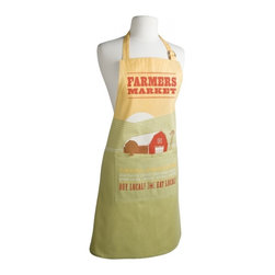 Farmers Market Apron - Farm-fresh green, gold, and red apron makes your passion for the locally-grown well known! A serene red barn and windmill rest in a peaceful green valley. 100% cotton apron with large center pocket and D-ring adjustment.